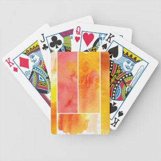 Set of abstract  watercolor hand painted bicycle playing cards