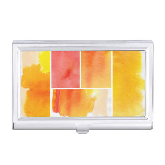Set of abstract  watercolor hand painted business card holder