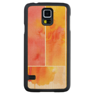 Set of abstract watercolor hand painted carved maple galaxy s5 case