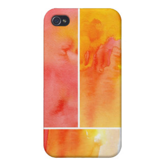 Set of abstract  watercolor hand painted cover for iPhone 4