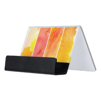 Set of abstract  watercolor hand painted desk business card holder