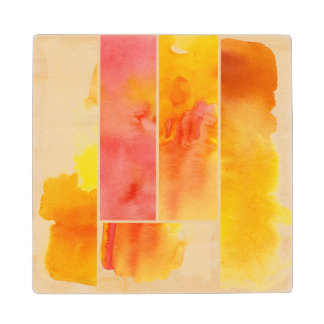 Set of abstract  watercolor hand painted maple wood coaster