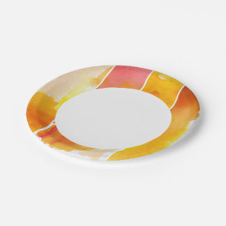 Set of abstract  watercolor hand painted paper plate