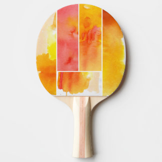 Set of abstract  watercolor hand painted ping pong paddle