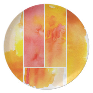 Set of abstract  watercolor hand painted plate