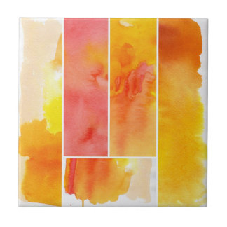 Set of abstract  watercolor hand painted tile