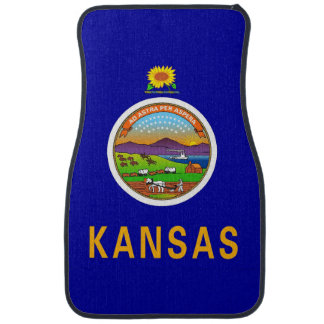 Set of car mats with Flag of Kansas, USA