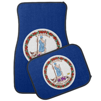 Set of car mats with Flag of Virginia, USA