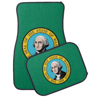 Set of car mats with Flag of Washington, USA