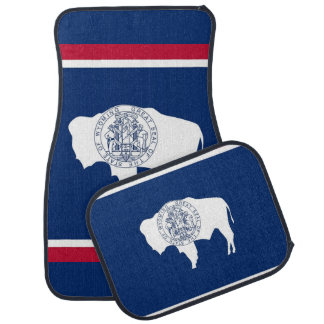 Set of car mats with Flag of Wyoming, USA