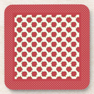 Set of Cork-backed Coasters: Deep Red Roses Coaster