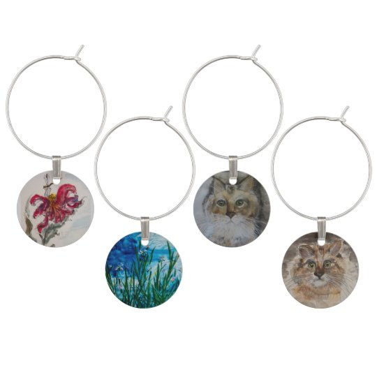 Set of Four Water Colour Wine Charms