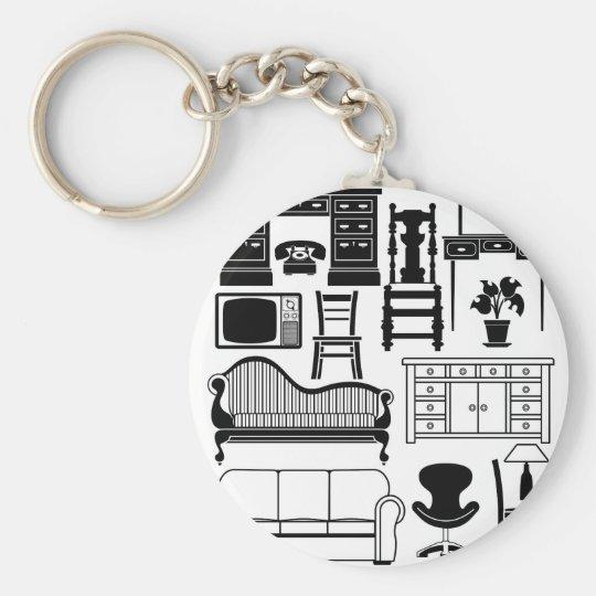 Set of furniture basic round button key ring
