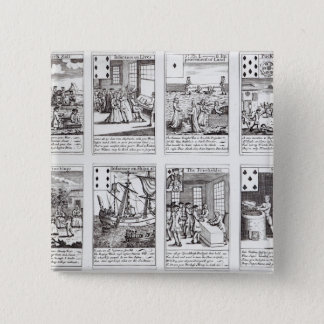 Set of Playing Cards depicting Satirical 15 Cm Square Badge