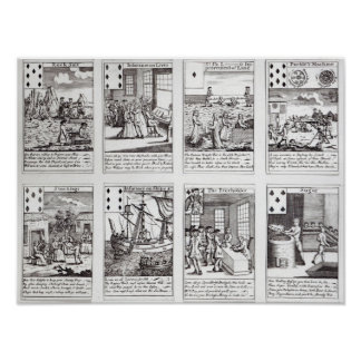 Set of Playing Cards depicting Satirical Poster