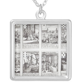 Set of Playing Cards depicting Satirical Silver Plated Necklace