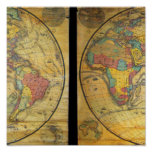 Set of Rare Hemisphere Wall Maps c. 1858 Posters