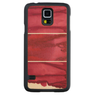 Set of red watercolor abstract hand painted carved maple galaxy s5 case