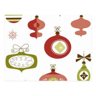 Set of Retro Christmas Ornaments Postcard