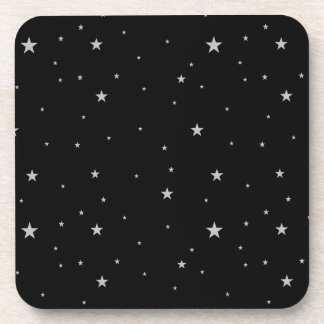Set of Silver Stars On Black Coaster
