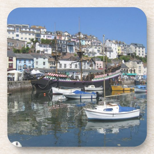 Set Of Six Drinks Coasters With Brixham Picture