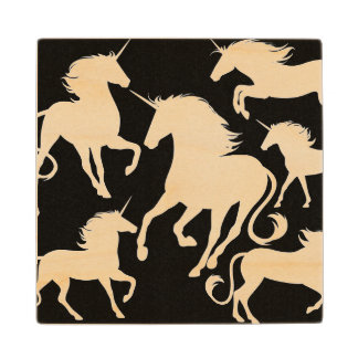 set of unicorns wood coaster
