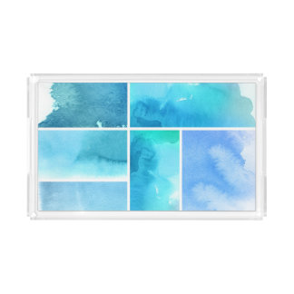 Set of watercolor abstract hand painted 2 acrylic tray