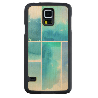 Set of watercolor abstract hand painted 2 carved maple galaxy s5 case