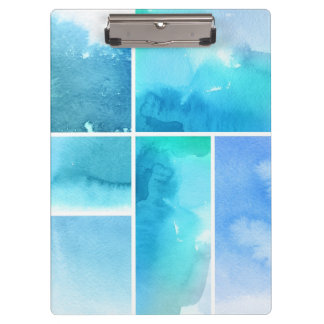 Set of watercolor abstract hand painted 2 clipboard