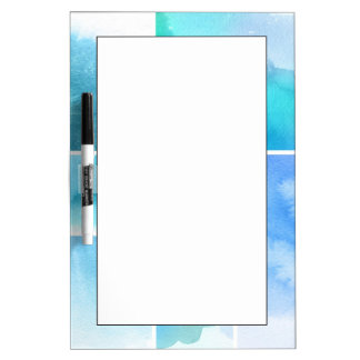 Set of watercolor abstract hand painted 2 dry erase whiteboards