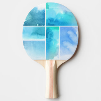 Set of watercolor abstract hand painted 2 ping pong paddle