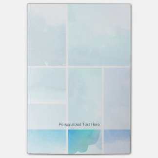 Set of watercolor abstract hand painted 2 post-it notes