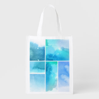 Set of watercolor abstract hand painted 2 reusable grocery bag