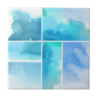 Set of watercolor abstract hand painted 2 tile