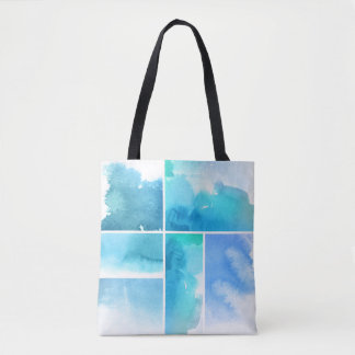 Set of watercolor abstract hand painted 2 tote bag
