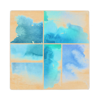 Set of watercolor abstract hand painted 2 wood coaster
