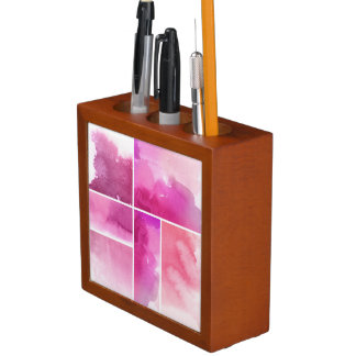 Set of watercolor abstract hand painted 3 desk organiser