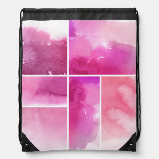 Set of watercolor abstract hand painted 3 drawstring bag