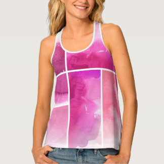 Set of watercolor abstract hand painted 3 tank top