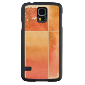Set of watercolor abstract hand painted 4 carved maple galaxy s5 case