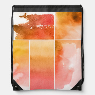 Set of watercolor abstract hand painted 4 drawstring bag