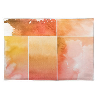 Set of watercolor abstract hand painted 4 placemat