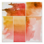 Set of watercolor abstract hand painted 4 poster
