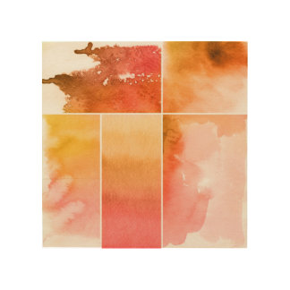 Set of watercolor abstract hand painted 4 wood wall art