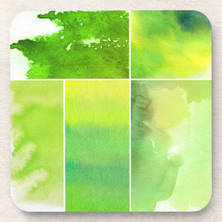 Set of watercolor abstract hand painted beverage coaster