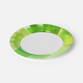 Set of watercolor abstract hand painted paper plate