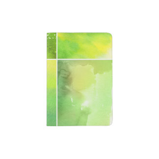 Set of watercolor abstract hand painted passport holder
