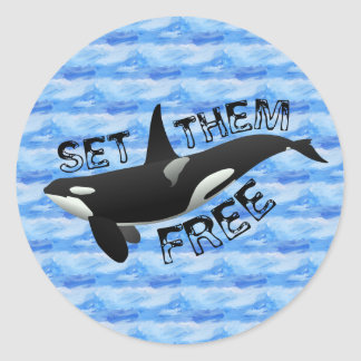 Set them free Killer Whale Classic Round Sticker