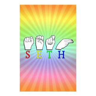 SETH FINGERSPELLED ASL NAME SIGN STATIONERY
