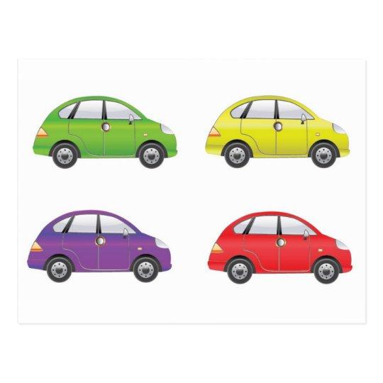 SetofFourCarVector1 COLOURFUL CARTOON CARS FUN TRA Postcard